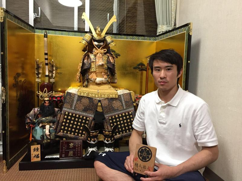"a photo with ""Kabuto"" that is traditional battle armor of japan in old ages."