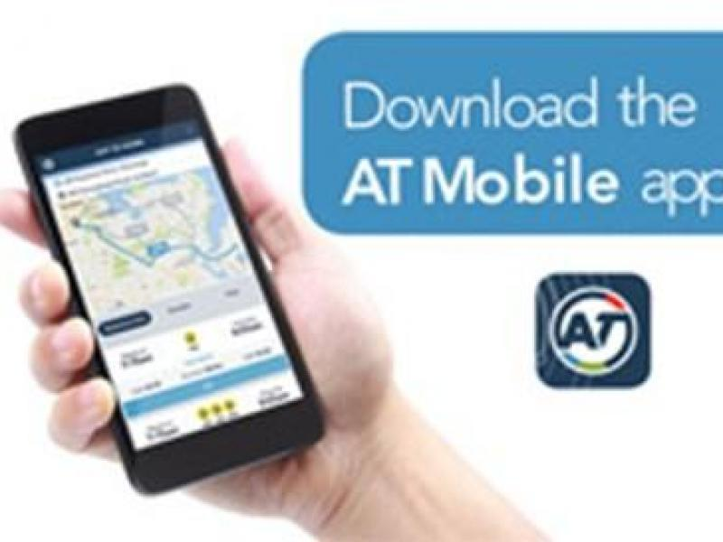 Auckland Transport App - bus outside front door.