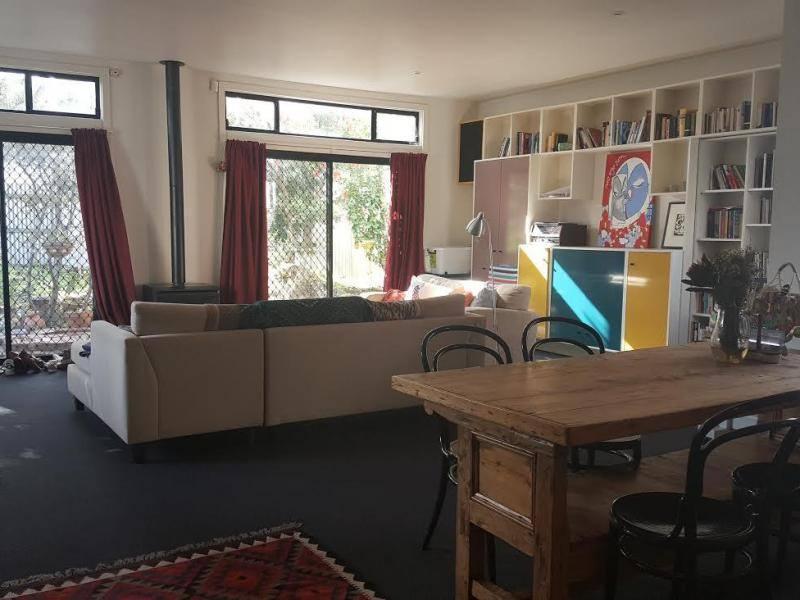 Lounge, dining and backyard