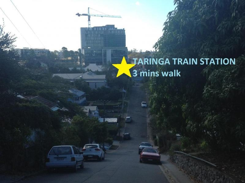 Taringa Train station to and from the city (3 min walk)