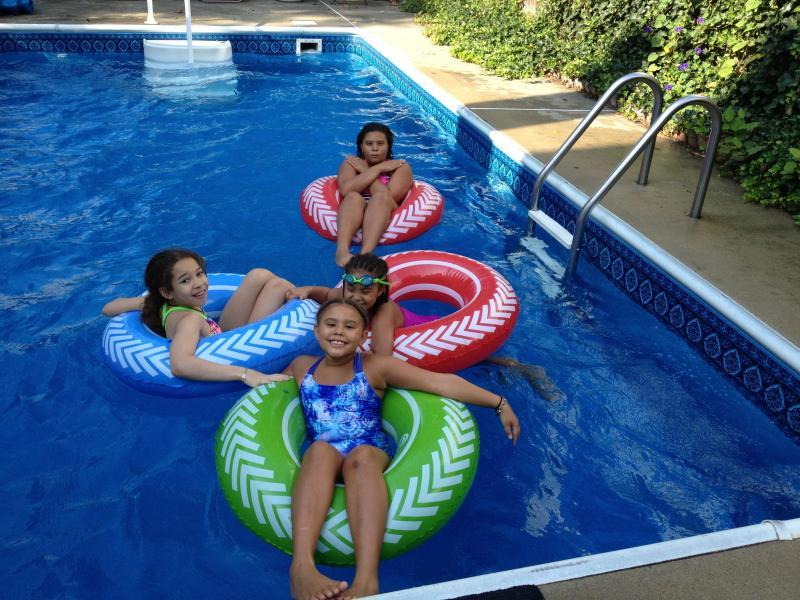 hanging by our pool with friends