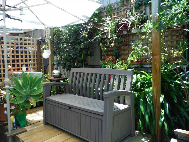 Outside garden rest area .