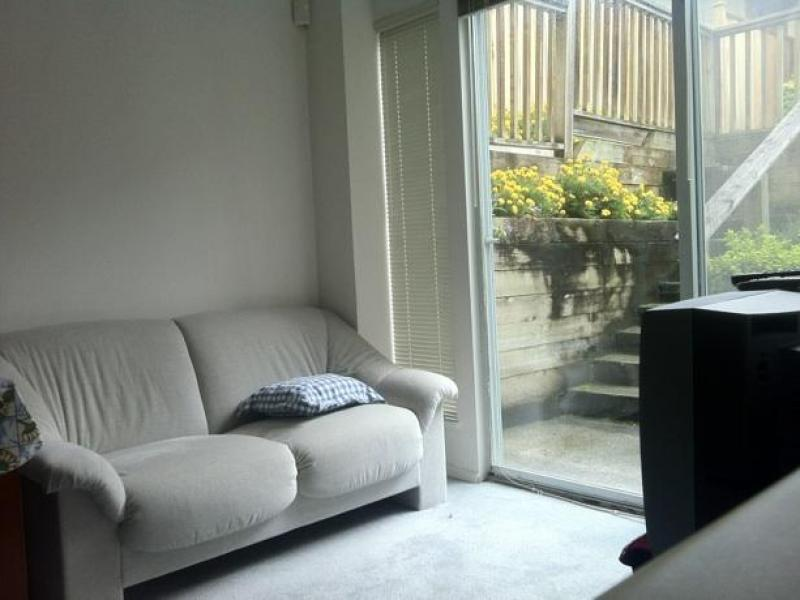 Student's own living room furnished with sofa and TV