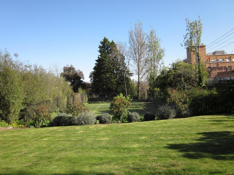 Garden and tennis court